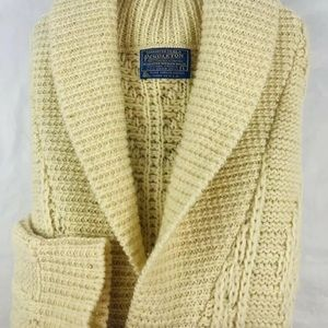 Pendleton Wool Ivory Knit Shawl Cardigan Men's L